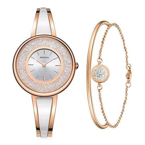MAMONA Women's Rose Gold-Tone Bangle Watch