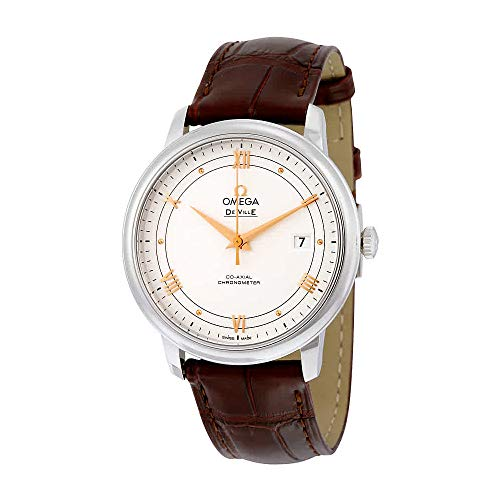 Omega De Ville Prestige Silver Dial Brown Leather Mens Watch