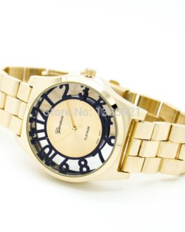 Fashion women's wrist watches Geneva colored number see through watch