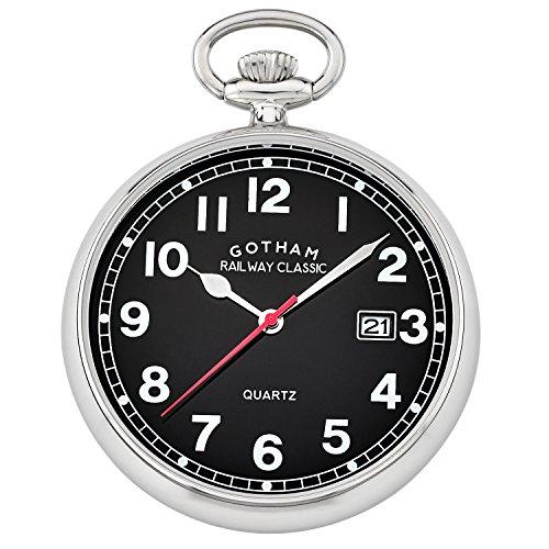 Gotham Men's Silver-Tone Analog Quartz Date Railroad Pocket Watch