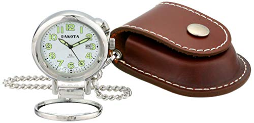 Dakota Watch Company Leather Pouch Pocket Watch with Magnifying Lens
