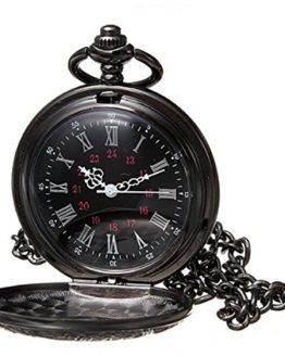 WIOR Black Classical Pocket Watch Retro Steampunk Pattern