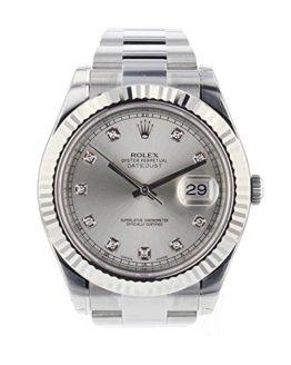 Rolex Datejust II 41mm Steel Silver Diamond Dial Men's Watch