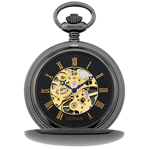 Gotham Men's Silver-Jewel Mechanical Double Hunter Pocket Watch