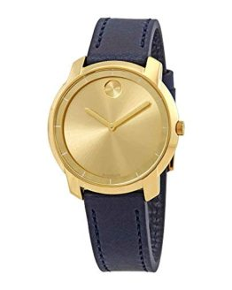 Movado Bold Yellow Gold Sunray Dial Ladies Leather Watch