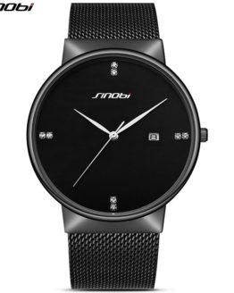 SINOBI Business Men Wrist Watches Mesh Stainless Steel Watchband