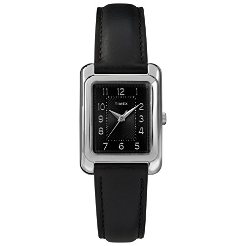 Timex Women's Meriden Black/Silver-Tone Leather Strap Watch