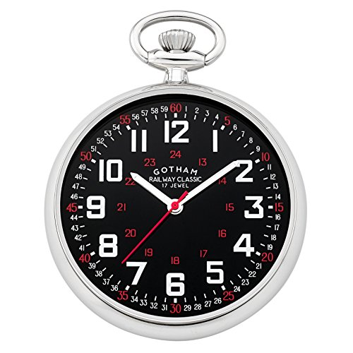 Gotham Men's Silver-Tone Mechanical Pocket Watch