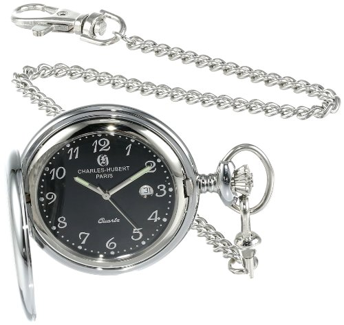 Charles-Hubert, Paris 3599-B Stainless Steel Quartz Pocket Watch