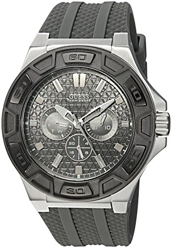 GUESS Men's Stainless Steel Quartz Watch with Silicone Strap