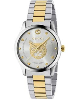 Gucci G-Timeless Watch 38mm Two Tone Yellow Gold Feline