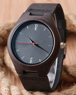 Luxury Nature Wooden Watch Minimalist Bamboo Black Genuine Leather Watch