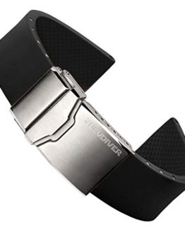 ZULUDIVER Italian Rubber Watch Band Italian Rubber Black