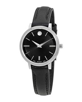 Movado Ultra Slim Black Dial Leather Strap Ladies Watch