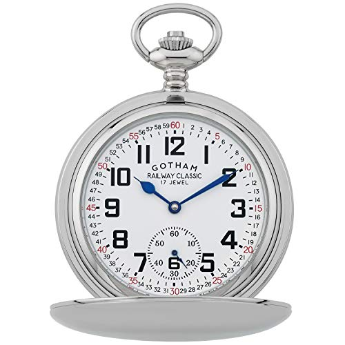 Gotham Men's Silver-Tone Railroad Dial Double Hunter Pocket Watch