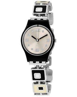 Swatch chessboard white dial stainless steel bracelet women watch