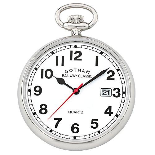 Gotham Men's Silver-Tone Analog Quartz Pocket Watch