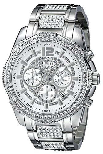 GUESS Men's Sporty Silver-Tone Stainless Steel Watch