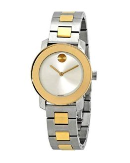 Movado Bold Silver-Tone Sunray Dial Ladies Two-Tone Watch