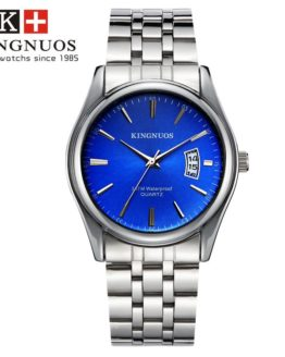 Kingnuos Tops Luxury Brand Men Full Stainless Steel Business Watches