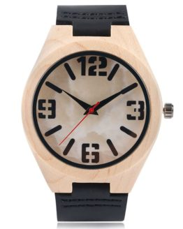 Bamboo Creative Wooden Watch Marble Face Nature Wood Genuine Leather
