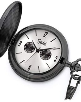 Speidel Classic Brushed Satin Black Engravable Pocket Watch