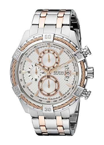 GUESS Men's Stainless Steel & Rose Gold-Tone Chronograph Watch