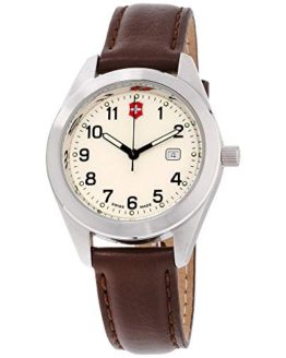 Victorinox Garrison Beige Dial Leather Strap Unisex Watch