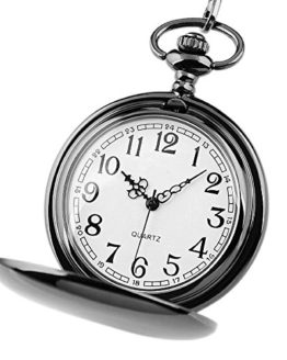 Jechin Classic Black Big Face Pocket Watch Comes in a Silk-Lined Gift Box