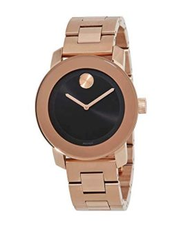 Movado Bold Black Sunray Dial Unisex Rose Gold Tone Watch