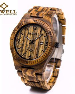 Casual BEWELL Wooden Watch For Men's Luminous Quartz Wrist Watches