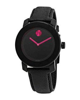 Movado Bold Black Pink Dial Ladies Women's Watch