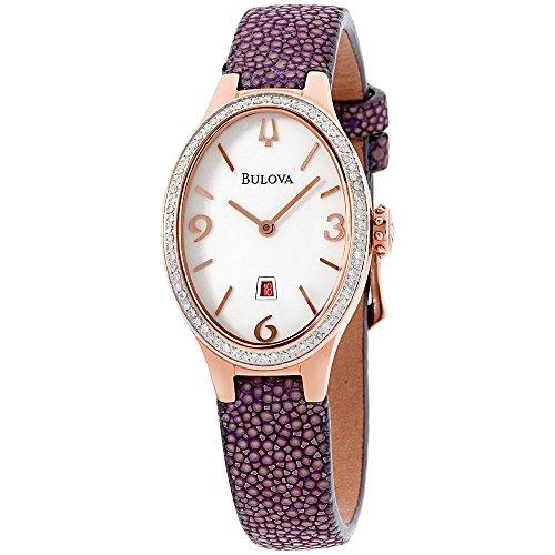 Bulova Diamond White Dial Leather Strap Ladies Watch 98R198