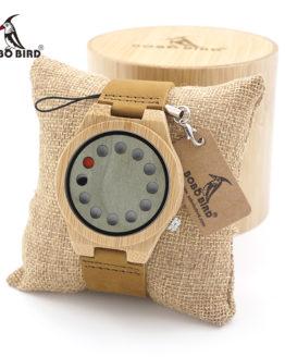 BOBO BIRD Men's Wood Bamboo Wristwatch 12 Holes Design Men