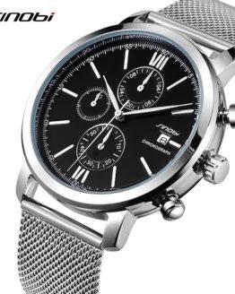 2017 SINOBI New Stainless Steel Smart Men's MultiFunction Quartz Sport Watch