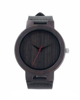 BOBO BIRD Men's Ebony Wood Design Watches With Real Leather Quartz Watch