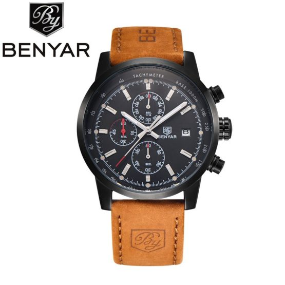 BENYAR Sport Men Watch Top Brand Luxury Men Leather Watch
