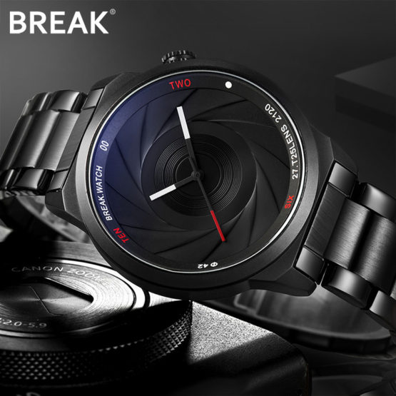 BREAK Photographer Series Unique Camera Style stainless Strap Men Watches