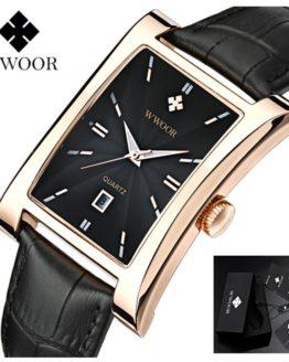 WWOOR Men Watch Ultra thin Square Watches Quartz Watches
