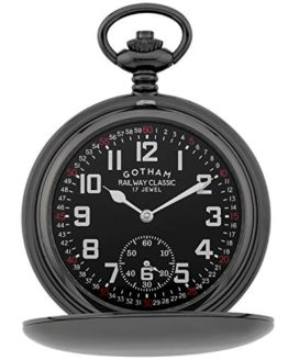 Gotham Men's Gun-Tone Railroad Mechanical Pocket Watch