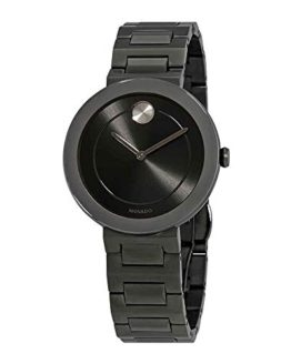 Movado Bold Grey Dial Gunmetal Ion-Plated Ladies Watch