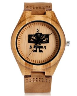 Hot Selling Wood Wristwatch Creative Robot Pattern Genuine Leather Band