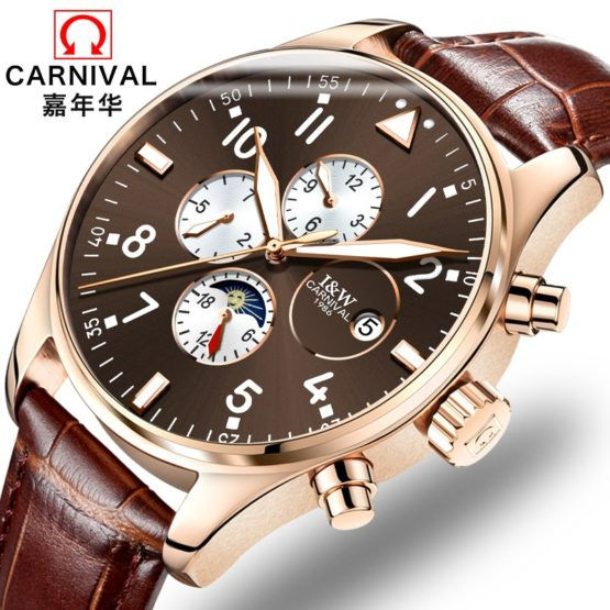 Carnival Top Brand Luxury Mens Watches Sapphire Fashion Mechanical