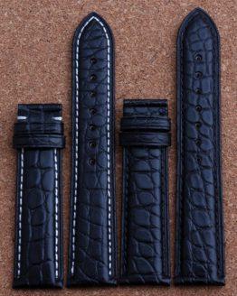 New Mens Genuine Leather Watch Strap Bands Bracelets Black Alligator Leather