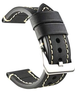 ZLIMSN Thick Genuine Leather Brown Black Watch Band Strap