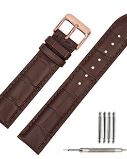 TStrap 20mm Brown Leather Watch Bands Replacement Watch Strap