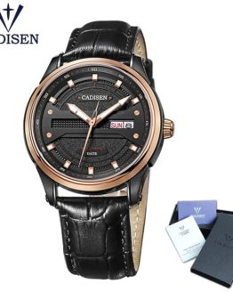Cadisen Watch Men Top Brand Luxury Famous Male Clock Leather strap