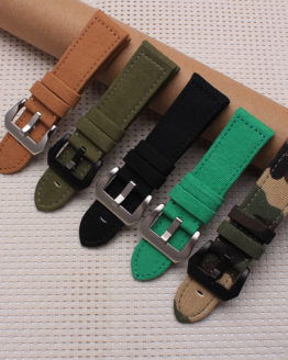 Quality Canvas and Leather Watchband 24mm watch band