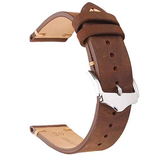 EACHE 20mm Genuine Leather Watch Band Brown