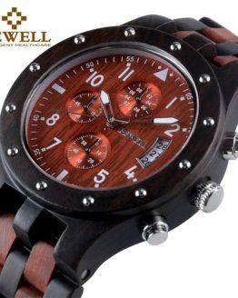 BEWELL Luxury Brand Men's Wood Quartz Wrist Watch Men Sport
